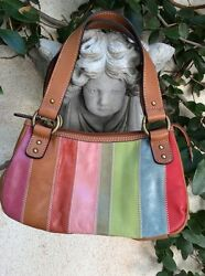 FOSSIL Stripe LEATHER PURSE HANDBAG ~ Sized Perfect For A Cosmetic Makeup Bag!