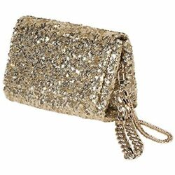 Women Gold Clutch Purse With SequinGold Evening Bag Flap And 2 Chains For Party