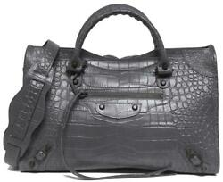 New $2150 Balenciaga City Classic Arena Embossed Croc Gris Leather Bag