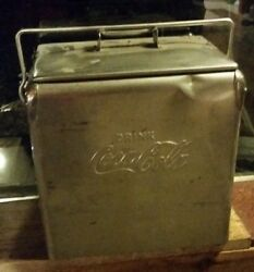 Nice Rare 1950and039s Acton Stainless Steel Coca Cola Cooler Chest With Tray