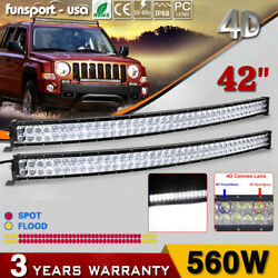 2x 42inch Curved Led Light Bars Offroad Spot Flood Combo Driving For Ford 4x4wd