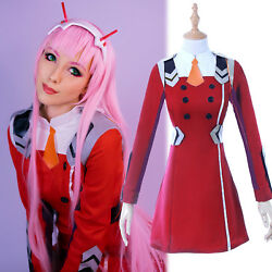 Darling In The Franxx 02 Zero Two Outfit Uniform Cosplay Costume + Headwear