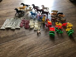 Lot Of 59 Marx Tim Mee 1950's Plastic Toy Animals Horses Indians Fence Farmer