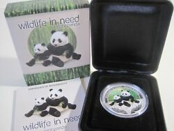 2011 Tuvalu Wildlife In Need Giant Panda 1oz Silver Proof Coloured Animal Coin