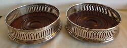 Pair Of English Silverplated And Wood Wine Bottle Coasters-- In A Box