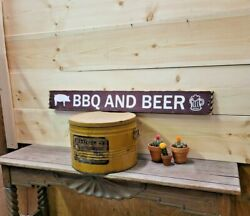 Bbq And Beer With Pig Wood Sign/bar/patio/deck/distressed/man Cave/gift For Him