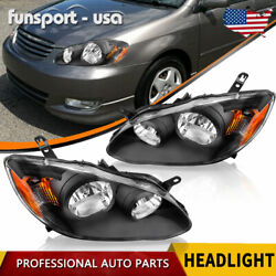Headlights Assembly For 2003-2008 Toyota Corolla Headlamps Replacement Pair Set