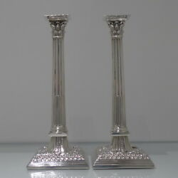 Mid 18th Century Pair George II Antique Sterling Silver Candlesticks London 1758