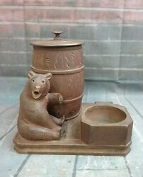Vintage Wooden Glass Eyes Bear Humidor, Pipe Stand, Ash Tray