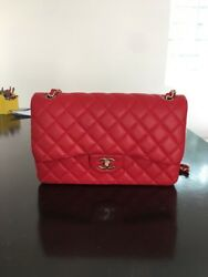 Chanel Red Lambskin Jumbo Classic Double Flap Bag 13S