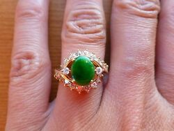 Vintage 18k Yellow Gold Carved Oval Green A Jadeite Jade Diamond Ring 5 Chinese