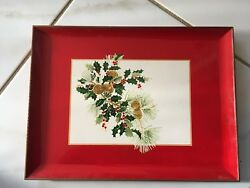 Lovely Vintage Christmas Red Lacquered Tray Pine Cones,holly And Berries