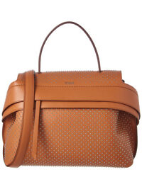 Tod's Wave Small Embellished Leather Satchel Brown