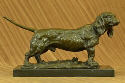 Handmade Basset Hound Dog Figure Deco Bronze Sculpture on Marble Base Deco