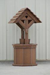 4 Ft. Poly Wishing Well With Planter Bucket Wood Looking Antique Mahogany