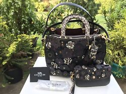 NWT COACH 1941 ROGUE TEA ROSE SNAKE SKIN in BLACK 58964 & 22935 Wallet  Clutch
