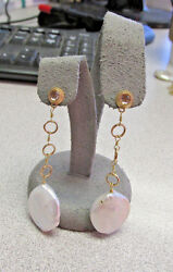 Unique Chandelier Style Hanging Pearl And Quartz Earrings 14k Gold Make Offer