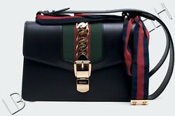 GUCCI 2590$ Authentic New Small Black Leather Sylvie Shoulder Bag