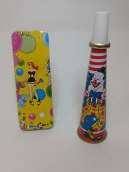 Lot Of 2 Vintage Lithographed Tin Horn And Noise Maker With Clown, Dog And Woman