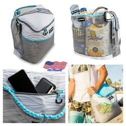 Insulated Beach Cooler Bag Picnic Tote Compartment Drawstring Mesh Sky Blue