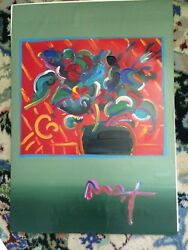 Peter Max And039flowersand039 Large Acrylic On Paper Over Litho Signedcoa Griffin Gallery
