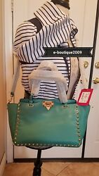 AUTHENTIC New with tags Valentino Rockstud Small Tote Bag Teal Green w Strap
