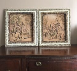 Set Of Two Antique Framed Tapestries Made In Belgium Victorian Scene 1920's