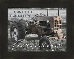 Faith Family Farming By Cindy Jacobs 16x20 Old Ford Tractor Framed Art Picture