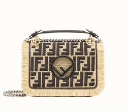 FENDI KAN I FF LOGO SMALL FRINGED RAFFIA BLACK LEATHER MINI-BAG 8BT286A23QF013C