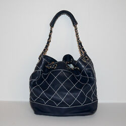 Authentic CHANEL Quilted Navy Lambskin Drawstring Bucket Bag MINT