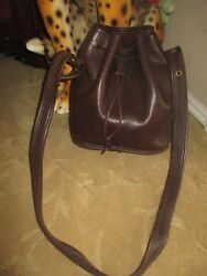 VINTAGE COACH BROWN LEATHER DRAW STRING BUCKET CROSS BODY BAG #9952