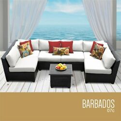Tk Classicss Barbados 7-piece Patio Wicker Sectional Set 07c In White