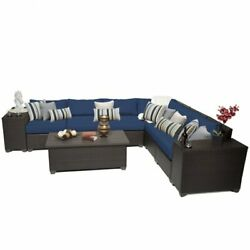 TKC Barbados 9 Piece Patio Wicker Sectional Set in Navy