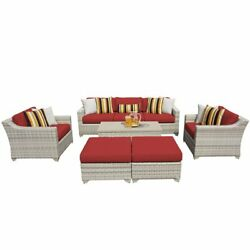 Tk Classic Fairmont 8 Piece Wicker Patio Sofa Set In Red And Gray
