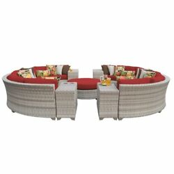 Tk Classics Fairmont 11 Piece Patio Wicker Sectional Set 11b In Red