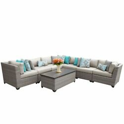 Tk Classics Florence 8-piece Patio Wicker Sectional Set 08a In Beige
