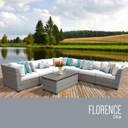 Tk Classics Florence 8-piece Patio Wicker Sectional Set 08a In White