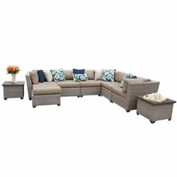 Tk Classics Florence 9-piece Patio Wicker Sectional Set 09c In Wheat