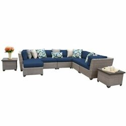TKC Florence 9 Piece Patio Wicker Sectional Set in Navy