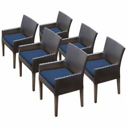 Tkc Napa Patio Dining Arm Chair In Navy Set Of 6