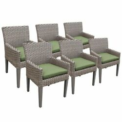 Tkc Oasis Patio Dining Arm Chair In Green Set Of 6