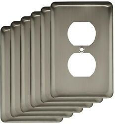 Electrical Wall Plate Outlet Cover Decorative Single Duplex Satin Nickel 6 Pack