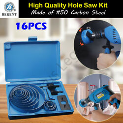 16pc Hole Saw Set 19-127mm Holesaw Wood Boring Kit Drill Timber Plaster Joinery
