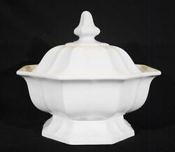 Large Antique T And R Boote White Ironstone Boote 1851 Octagonal Footed Tureen