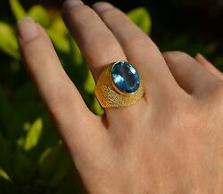 Fabulous Swiss Blue Topaz 18k 750 Yellow Gold Ring Size 6.5 Italy 174to