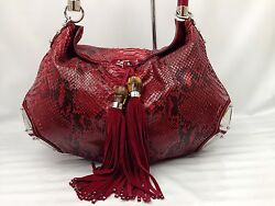 Auth GUCCI GENUINE SNAKESKIN BAMBOO LEATHER Shoulder Bag Red 7C140540m