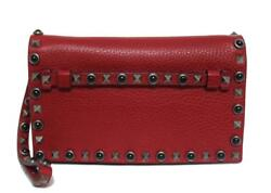 New $2290 Valentino Rockstud Rosso Leather Medium Clutch Wristlet Bag