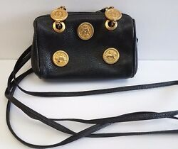 Vintage Fendi s.a.s. Roma Black Leather Zodiac Shoulder Bag Purse Clutch RARE