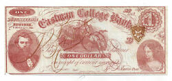 Eastman College Bank, Poughkeepsie, Ny - One Dollar Obsolete Note No.5142
