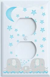 Blue Elephant Outlet Switch Plate Covers with Blue Moon and Stars  Elephant